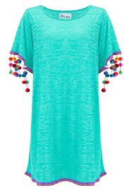 PITUSA Pom Pom Sleeve Dress - Mint