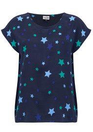 Mercy Delta Blair Stars Silk Top - Sapphire