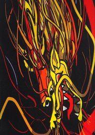 ROCKINS Classic Skinny Fringed Scarf - Dragon Black