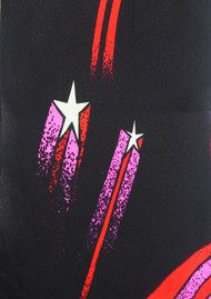 ROCKINS Classic Skinny Fringed Scarf - Shooting Stars Black & Pink