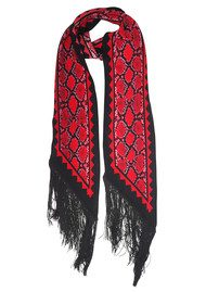 ROCKINS Classic Skinny Fringed Scarf - Red Snake Skin