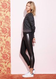 SUNDRY Faux Leather Block Yoga Pants - Black