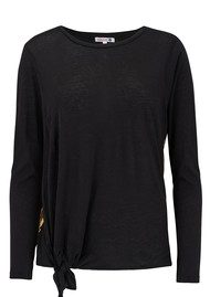 SUNDRY Gold Seam Knotted Long Sleeve Tee - Black