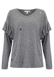 SUNDRY Star Patches Long Sleeve Ruffle Top - Heather Grey