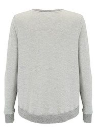 SUNDRY Heart Zip Sweatshirt - Heather Grey