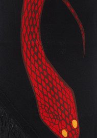 ROCKINS Classic Skinny Fringed Scarf - Red Snakes