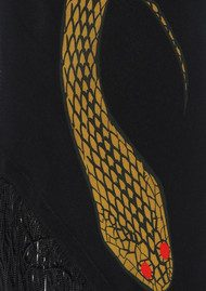 ROCKINS Classic Skinny Fringed Scarf - Gold Snakes