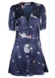 RIXO London Laura Short Printed Dress - Cosmic Constellation