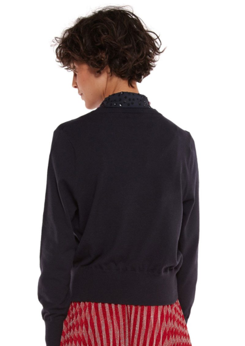 ESSENTIEL ANTWERP Porto Mock Embellished Shirt Sweater - Uniform Blue main image