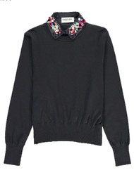 ESSENTIEL ANTWERP Porto Mock Embellished Shirt Sweater - Uniform Blue