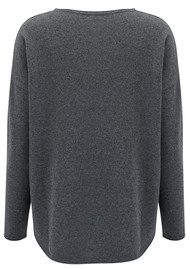 COCOA CASHMERE Lurex Stripe Curved Hem Cashmere Sweater - Ash Steel