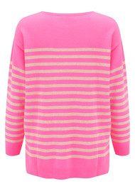 COCOA CASHMERE Classic Stripe Cashmere Sweater - Candy & Oatmeal