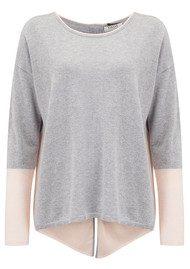COCOA CASHMERE Colour Block Zip Back Cashmere Sweater - Grey Bubble