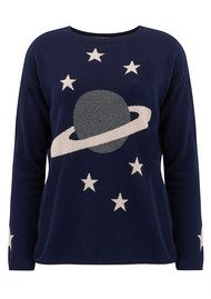 COCOA CASHMERE Heavens Above Planets Cashmere Sweater - Navy