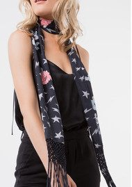 Lily and Lionel Houston Stardust Silk Habotai Scarf - Black