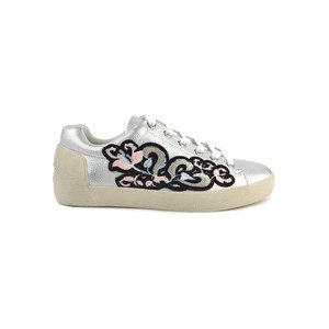 Nak Bis Embroidered Trainers - Silver Black