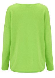 COCOA CASHMERE Lurex Stripe Curved Hem Cashmere Sweater - Apple & Silver