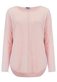 COCOA CASHMERE Lurex Stripe Curved Hem Cashmere Sweater - Bubble & Silver