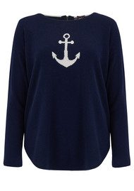 COCOA CASHMERE Star & Anchor Cashmere Jumper - Navy, Cream & Silver