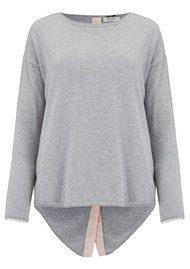 COCOA CASHMERE Button Back Cashmere Jumper - Grey & Bubble