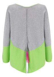 COCOA CASHMERE Colour Block Zip Back Cashmere Sweater - Grey & Apple