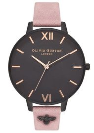 Olivia Burton 3D Bee Embellished Strap - Rose Suede & IP Black
