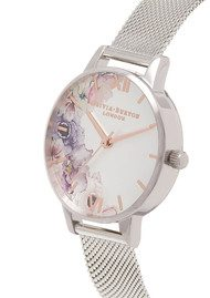 Olivia Burton Watercolour Floral Mesh Watch - Silver