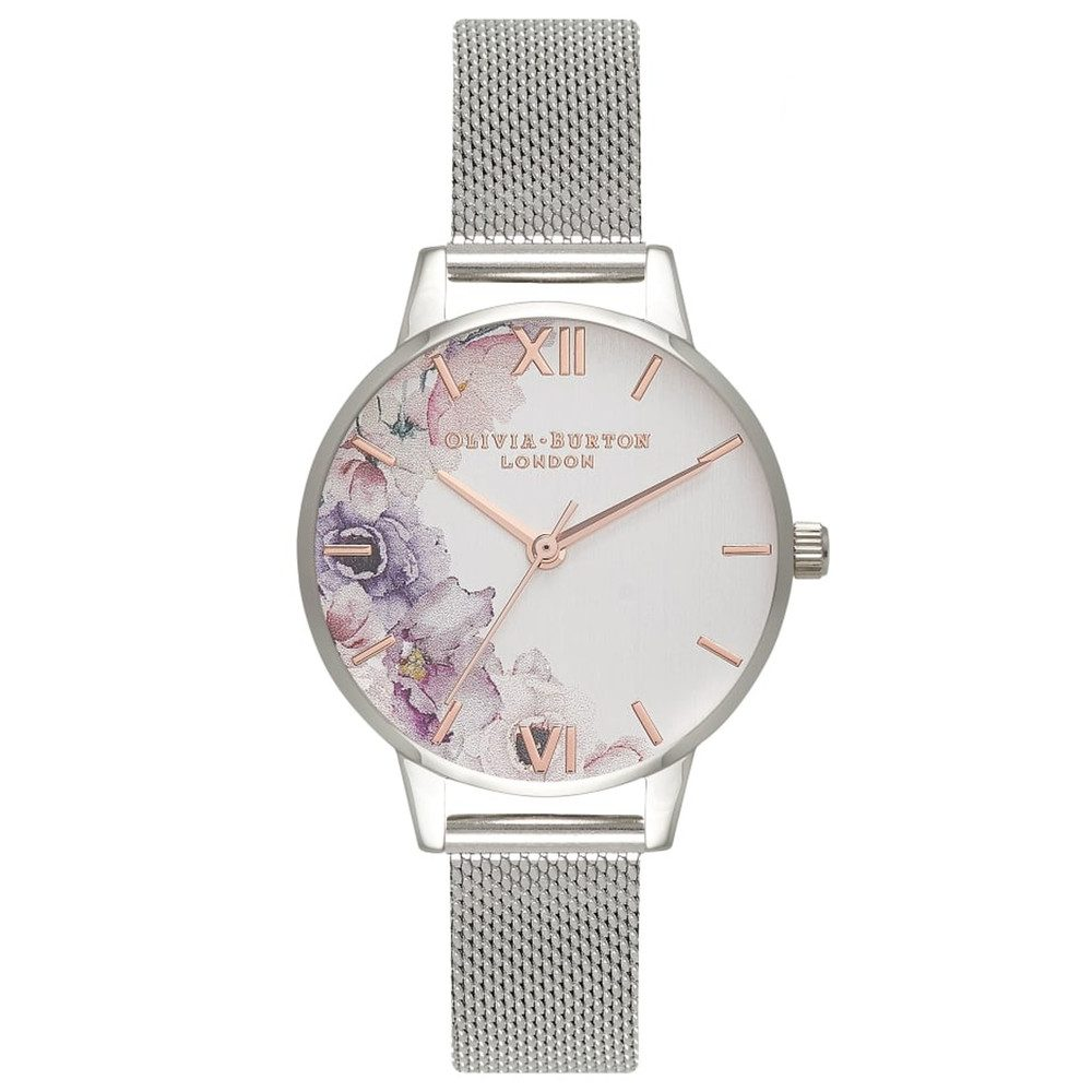 Watercolour Floral Mesh Watch - Silver
