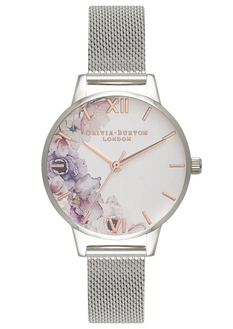 1e38dc8881fe Olivia Burton Watercolour Floral Mesh Watch - Silver main image ...