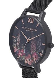 Olivia Burton After Dark Mesh Watch - Black & Rose Gold