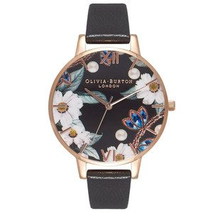 Bejewelled Floral Big Dial Watch - Black & Rose Gold