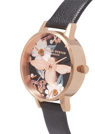 Olivia Burton Bejewelled Floral Midi 3D Bee Watch - Black & Rose Gold