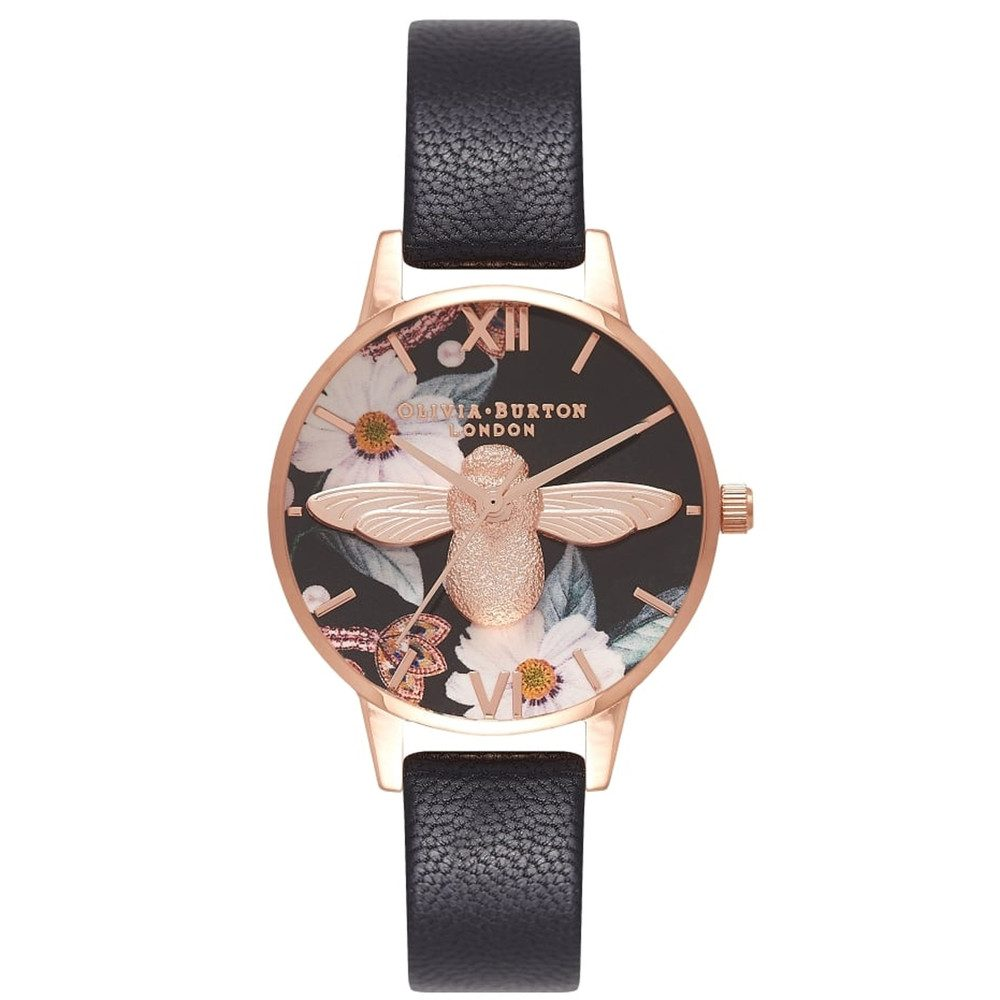 Bejewelled Floral Midi 3D Bee Watch - Black & Rose Gold