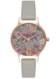 Olivia Burton Dark Bouquet Watch - Grey & Rose Gold
