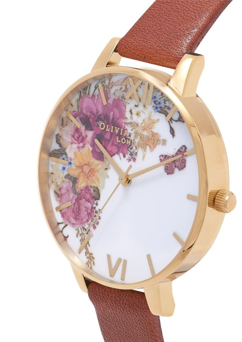 Olivia Burton Enchanted Garden Watch - Tan & Gold main image