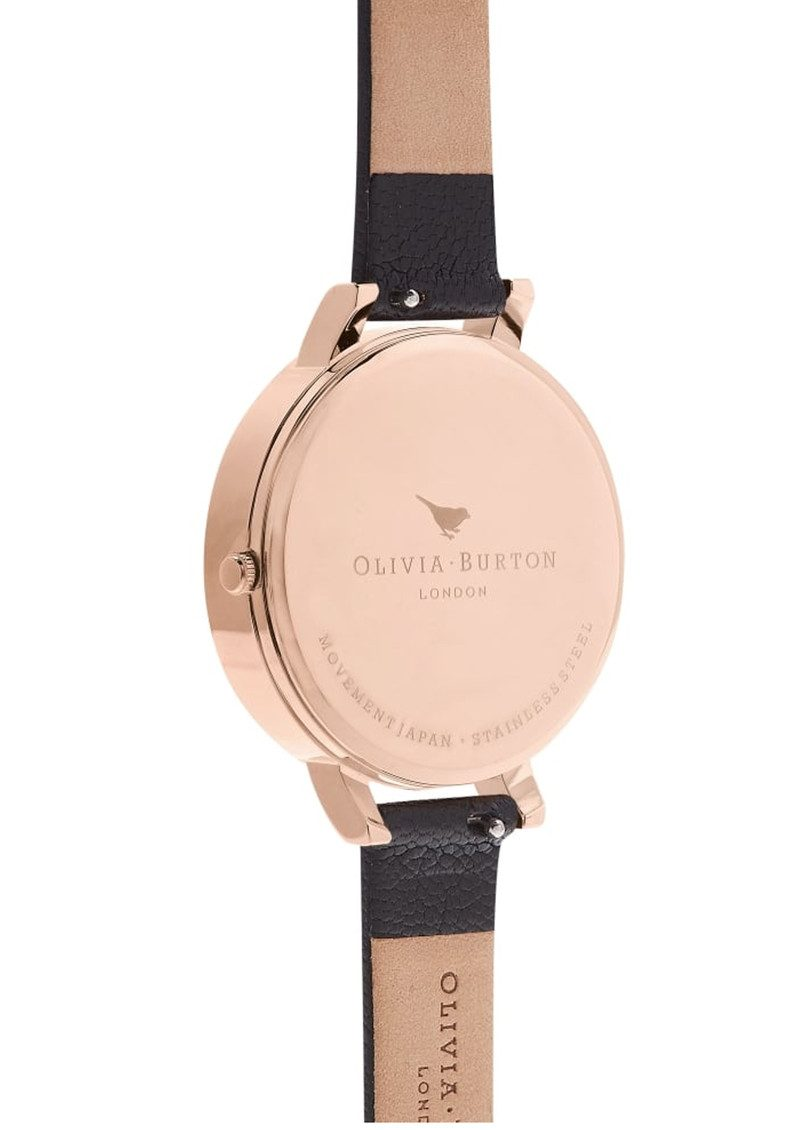 Olivia Burton Embroidered Dial Watch - Black & Rose Gold main image