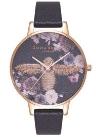 Olivia Burton Embroidered Dial Watch - Black & Rose Gold
