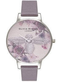 Olivia Burton Embroidered Dial Watch - London Grey & Silver