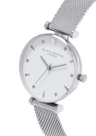 Olivia Burton Social Butterfly Mesh Watch - Silver