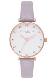 Olivia Burton Social Butterfly Watch - Grey Lilac & Rose Gold