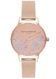 Olivia Burton Lace Detail Mesh Watch - Rose Gold