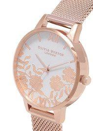 Olivia Burton Lace Detail Blush Dial Mesh Watch - Rose Gold