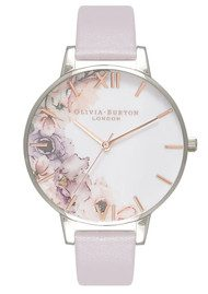Olivia Burton Watercolour Florals Watch - Grey Lilac & Silver