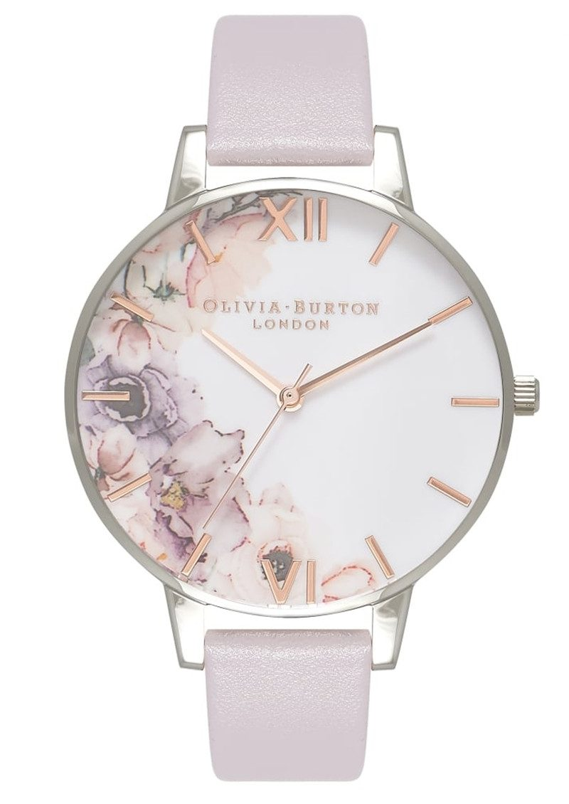 Olivia Burton Watercolour Florals Watch - Grey Lilac & Silver main image