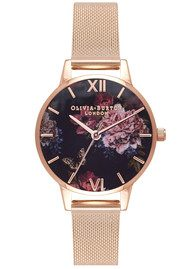 Olivia Burton Dark Bouquet Mesh Watch - Rose Gold