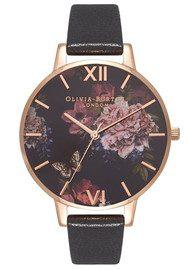 Olivia Burton Dark Bouquet Watch - Black & Rose Gold
