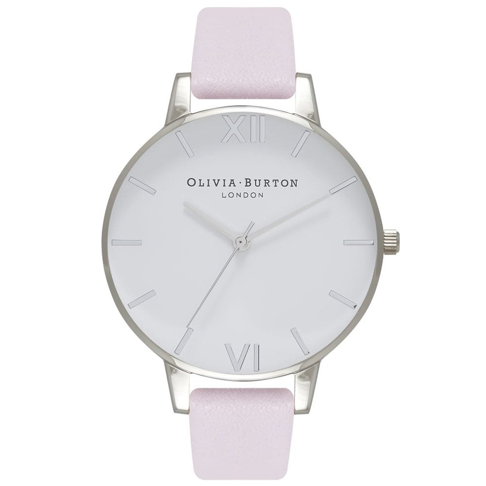 Big White Dial Watch - Blossom & Silver