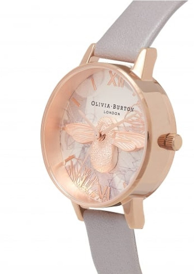 Olivia Burton Abstract Florals Midi 3D Bee Watch - Grey Lilac & Rose Gold main image
