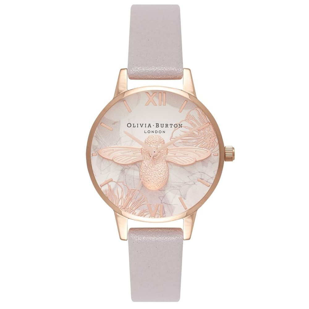 Abstract Florals Midi 3D Bee Watch - Grey Lilac & Rose Gold