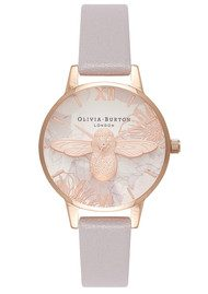 Olivia Burton Abstract Florals Midi 3D Bee Watch - Grey Lilac & Rose Gold